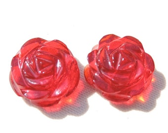 2 Pieces Extremely Beautiful Natural Red Quartz Carved Rose Flower Shaped Beads Size 15X15 MM