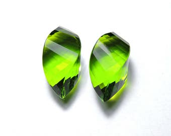 2 Pieces Extremely Beautiful Peridot Green Quartz Faceted Twisted Drops Briolette Size 19X10 MM