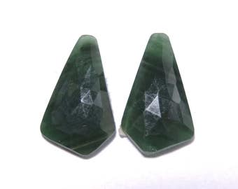 2 Pcs Matched Pair Natural Green Onyx Faceted Rose Cut Fancy Shaped Loose Gemstone Beads .100% Natural Beads. Size 23X13 MM