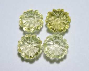 4 Pcs Very Beautiful Natural Lemon Topaz Hand Carved Flower Shape Loose Gemstone Size 13X13 MM