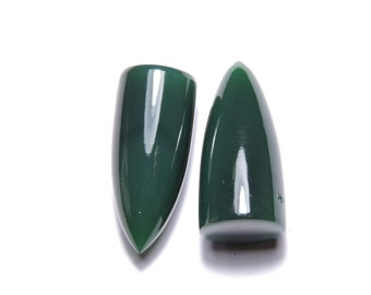 2 Pcs Very Beautiful Natural Green Onyx Smooth Polished Bullete Shape Loose Gemstone Beads.Size 25X11 MM