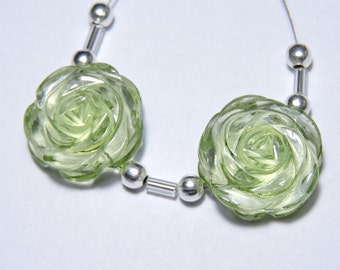 2 Pcs Very Attractive Green Amethyst Quartz Hand Carved Flower Shaped Beads Size 18X18 MM
