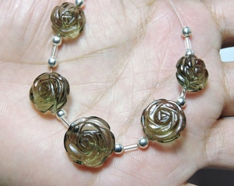 5 Pieces Extremely Beautiful Natural Smoky Hand Carved Rose Flower Shaped Beads Size 13X13-15X15 MM