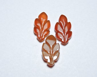 3 Pcs Set Very Attractive Natural Red Onyx Hand Carved Leaves Shape Gemstone Beads Size 17X9MM