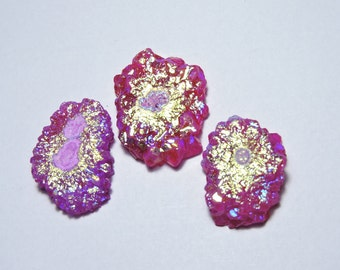 3 Pcs Extremely Beautiful Natural Sparkling Titanium Coated Pink Druzy Fancy Shape Beads Size 32X20 - 33X25 MM
