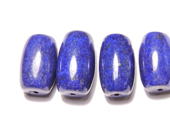 4 Pcs Extremely Beautiful Top Quality Natural Afghanistan Lapis Lazuli Smooth Polished Barrel Shaped Beads Size 18X12-17X11 MM