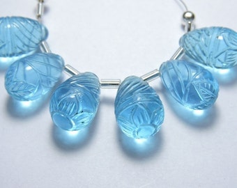 6 Pieces Beautiful Sky Blue Quartz Hand Carved Drops Beads Size 16X10 MM