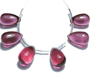 6 Pcs Extremely Beautiful Rubilite Pink Quartz Smooth Polished Drops Shape Beads Size 16X10 MM