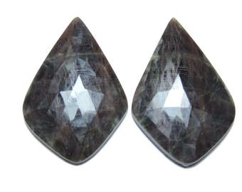 2 Pcs Matched Pair Natural Grey Sapphire Faceted Rose Cut Fancy Shaped Loose Gemstone Beads .100% Natural Beads. Size 40X27 MM