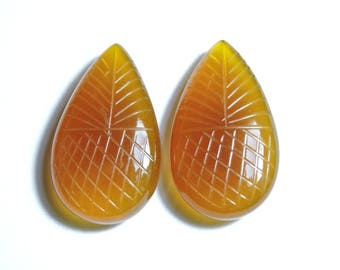 2 Pcs Very Beautiful Natural Yellow Chalcedony Hand Carved Pear Shape Briolette Size 27X17 MM
