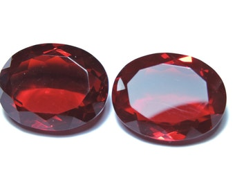 2 Pcs Very Beautiful Red Quartz Faceted Oval Shaped Loose Gemstone Beads Size 20X15 MM