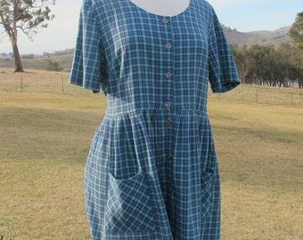 POCKET DRESS Vtg Blue Check Smock Shift Tie Mini Dress Vintage L