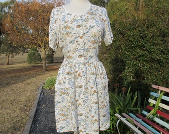 Vintage Floral Festival Earth Tones Tie Dress Vintage S