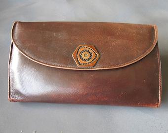 Edwardian 1920s Leather Clutch Silk Lined Art Nouveau Purse Silk Lined Handbag
