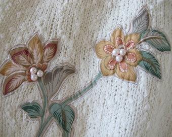 Vintage 70s 80s  Applique Beaded Floral Softest Ivory Knit Sweater Jumper