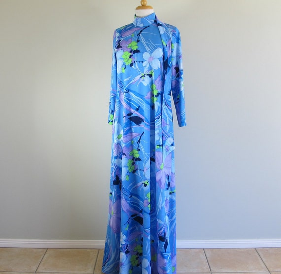 Vintage 60s Long Psychedelic Colorful Geometric Fl
