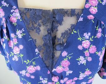 Vintage 60s/70s LACE BODICE Festival Navy Blue Floral Tea Dress