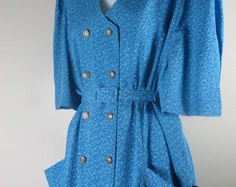Vintage 80s Pocket Dress Retro Mint Blue GOLD BLING Pocket Shift Mini Dress