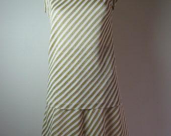 Len Vogue Three Piece Set Collectors Gold Glitter Chevron Disco Skirt Top Jacket/Cardie 60s 1960s