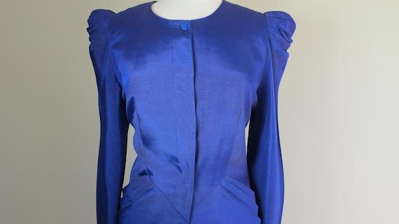 Fabulous 80s Indigo POWER SUIT Skirt Jacket 40's S