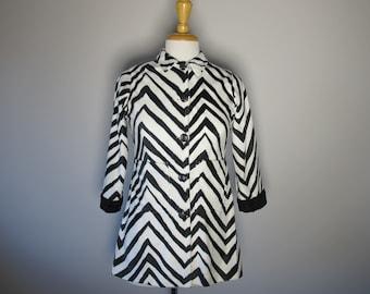 MOD 60s Zebra Print Handmade FAUX FUR Plush Jacket 3/4 Sleeves 1960s Fitted Jacket