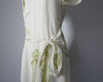 Vintage 90s Floral Chiffon Watercolour Sash Tie Lovers Mini Dress