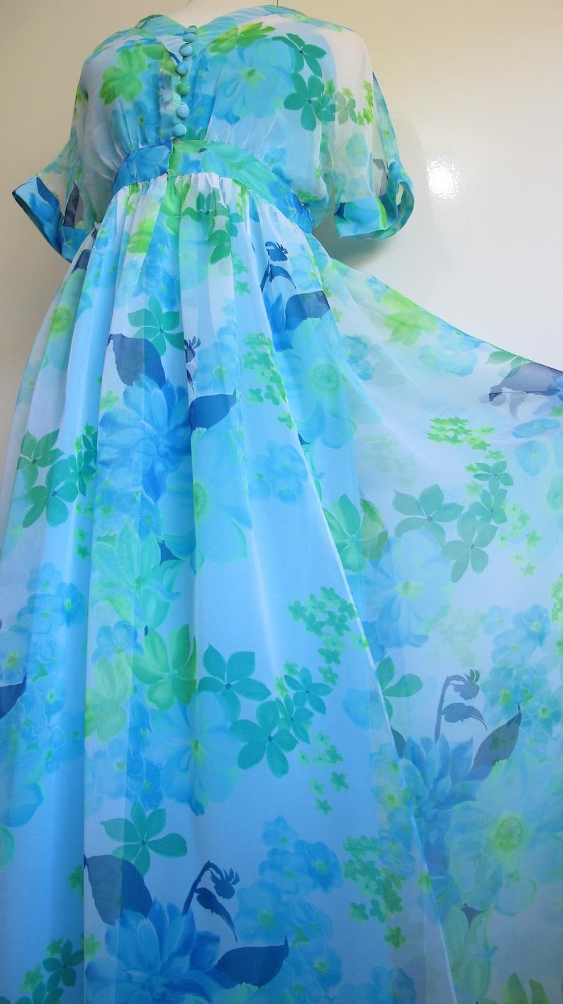 1960s Vintage Party Dress Blue Green Maxi Dress Cocktail Dress Stunning 60s Silk Slip Dress w Blouson Chiffon Watercolour Floral Dress