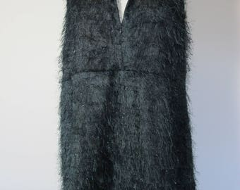 90s Vintage FEATHERED DRESS Fluffy Black Feather Plunging Neck Thigh Split Tunic Dress 1990s Avante Garde