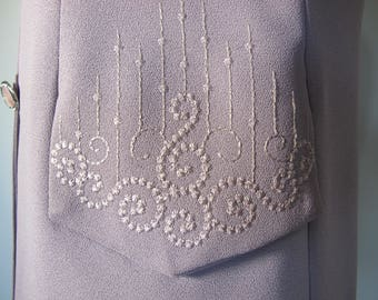 Vintage 1990s  BEAUTIFUL Lilac Crepe Embroidered Lapel Work Office Evening Corporate Jacket
