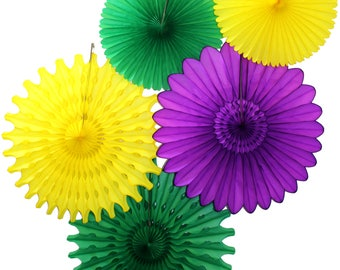 Mardi Gras Party Tissue Paper Fan Collection (5 fans, 13-18 inches) - Purple, Green, Yellow