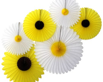 Hanging Tissue Paper Daisy & Sunflower Decorations, Set of 6 (13-20 inches)