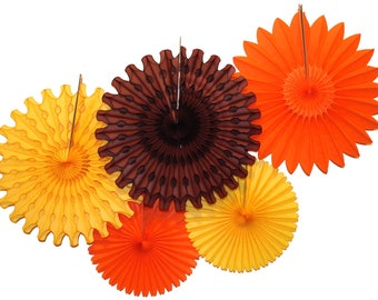 Fall Themed Gold, Orange, and Brown Tissue Paper Fan Collection (5 fans, 13-18 inches)