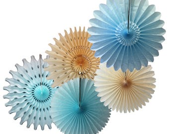 Baby Blue Light Blue & Ivory Tissue Paper Fan Collection (5 fans, 13-18 inches)