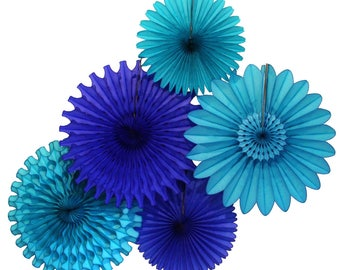 Blue Skies Tissue Paper Fan Collection (5 fans, 13-18 inches) - Turquoise & Dark Blue