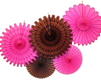 Magenta and Brown Tissue Paper Fan Collection (5 fans, 13-18 inches)