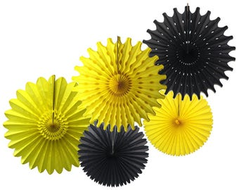 Bumblebee Black & Yellow Tissue Paper Fan Collection (5 fans, 13-18 inches)
