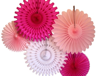 Pink and White Tissue Paper Fan Collection (5 fans, 13-18 inches)