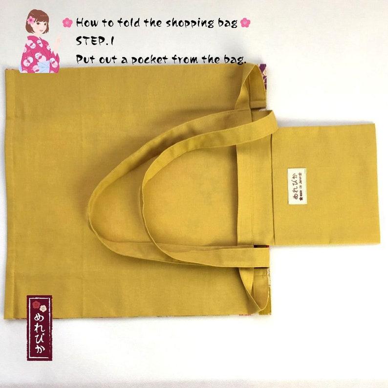 Eco Folding Shopping Bags Japanese style fabrics Cotton Floral Mustard Compact Bags Travel Bags Handbags Free Shipping ES0001-04-MU