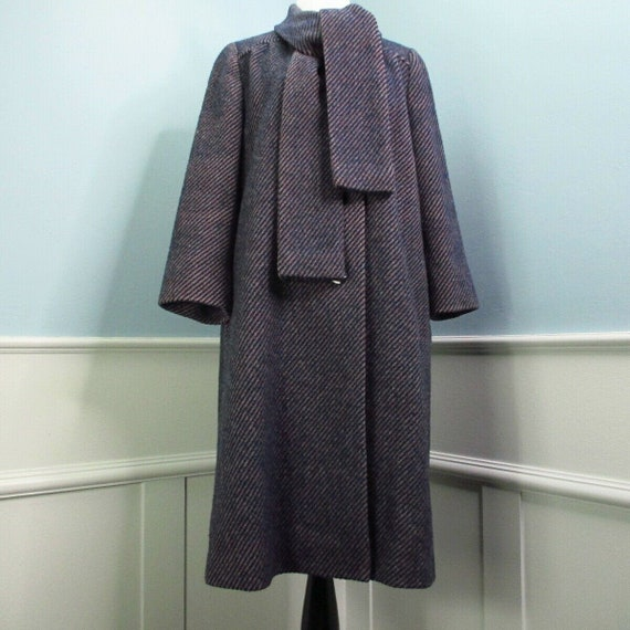 Vintage Cohen & Ruskin NY Wool Coat Large Tie Neck