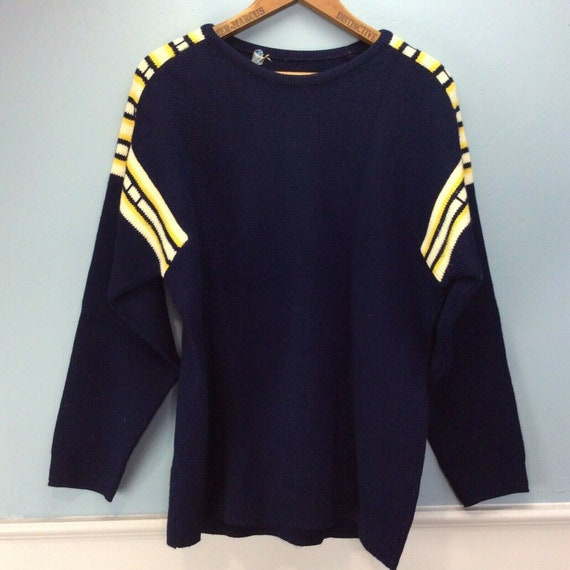 Vintage Obermeyer Sweater Large Blue Yellow 100% W