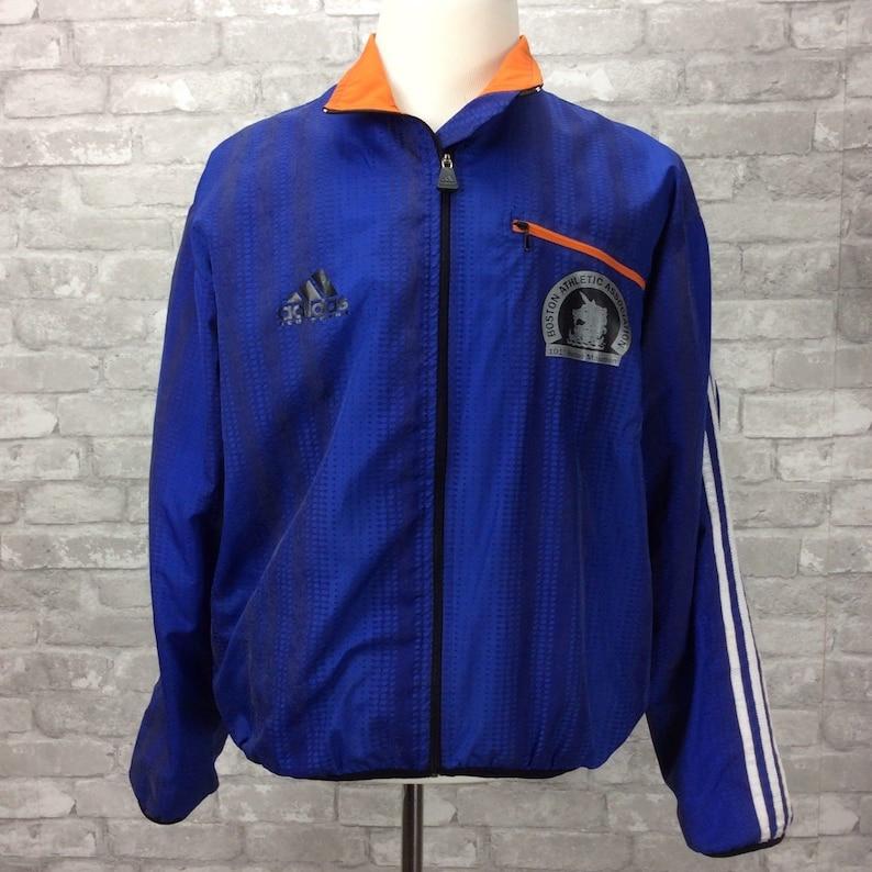 Vintage Adidas 101st Boston Marathon Jacket Medium Reflective Windbreaker 1997