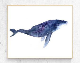 Original Humpback Whale Watercolour Fine Art Print, Coastal Decor, Beach House Printable Digital Download