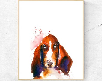 Basset Hound Dog Watercolour Print, Wall Art Print, Large Poster, Printable Digital Download