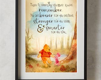 Winnie the Pooh You are Braver than you Believe Quote, Wall Art Print, Nursery Decor, Printable Digital Download, Large Poster