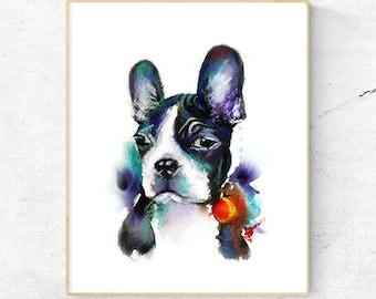 Boston Terrier Dog Watercolour Print, Wall Art Print, Large Poster, Printable Digital Download