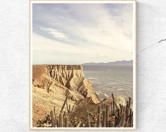 Desert Cactus Photo Print, Cliff Ocean Water Wall Art, Large Poster, Contemporary Photography, Modern Minimalist, Printable Digital Download
