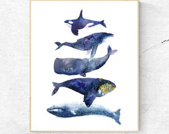 Group of Whales Watercolour Fine Art Print, Coastal Decor, Nautical Decor, Wall Poster, Beach House Printable Digital Download