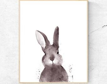 Original Rabbit Tail Watercolour Print, Woodlands Nursery Art, Rabbit Wall Decor, Baby Animal Print, Printable Bunny, Digital Download