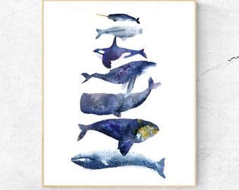 Original Group of Different Whales Watercolour Fine Art Print, Coastal Decor, Beach House Printable Digital Download