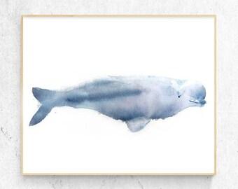 Original Beluga Whale Watercolour Fine Art Print, Coastal Decor, Beach House Printable Digital Download